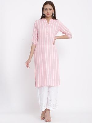 POSAKA Womens Rayon Stripe Print Straight Kurta Palazzo Set (Pink)