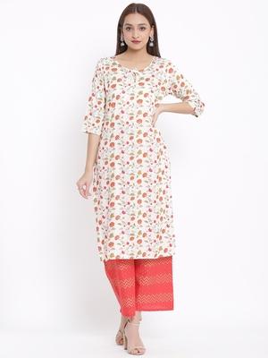 POSAKA Womens Cotton Jute Blend Floral Print Straight Kurta Palazzo Set (Off White)