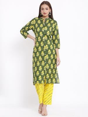 POSAKA Womens Cotton Cambric Printed Straight Kurta Palazzo Set (Green)