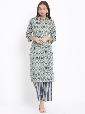 POSAKA Womens Cotton Cambric Printed Straight Kurta Palazzo Set (Multi Color)