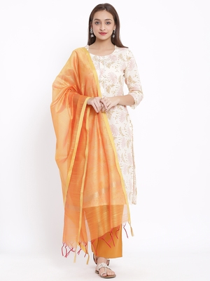 POSAKA Womens Cotton Printed Straight Kurta Palazzo Dupatta Set (Off White)