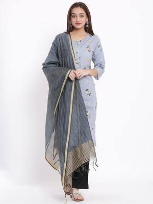 POSAKA Womens Cotton Printed Straight Kurta Palazzo Dupatta Set (Grey)