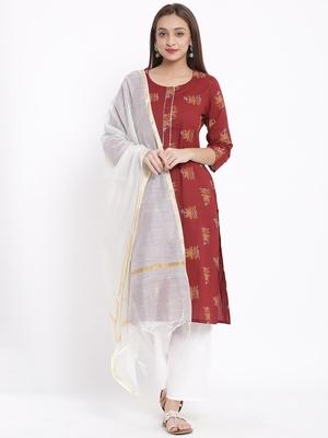 POSAKA Womens Cotton Printed Straight Kurta Palazzo Dupatta Set (Maroon)