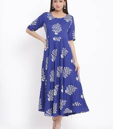POSAKA Womens Rayon Floral Print Flared Long Gown (Blue)