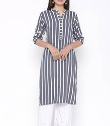 Womens Rayon Stripe Print Straight Kurta Palazzo Set (Grey)