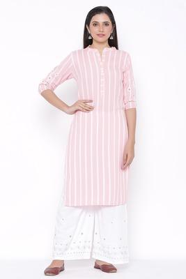 Womens Rayon Stripe Print Straight Kurta Palazzo Set (Pink)