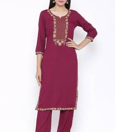 Womens Rayon Embroidered Straight Kurta Pant Set (Wine)