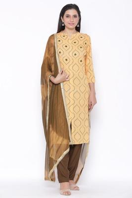 Womens Rayon Printed Straight Kurta Palazzo Dupatta Set (Beige)