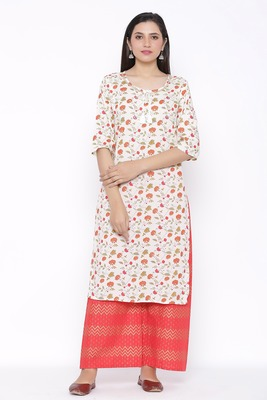 Womens Cotton Jute Blend Floral Print Straight Kurta Palazzo Set (Off White)