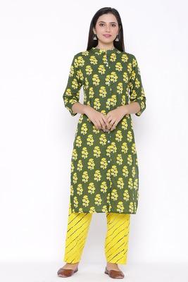 Womens Cotton Cambric Printed Straight Kurta Palazzo Set (Green)
