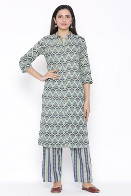 Womens Cotton Cambric Printed Straight Kurta Palazzo Set (Multi Color)