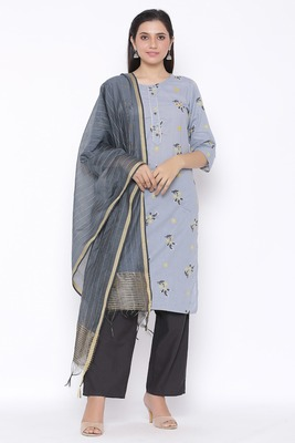 Womens Cotton Printed Straight Kurta Palazzo Dupatta Set (Grey)