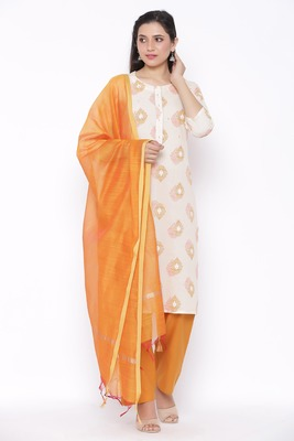 Womens Cotton Printed Straight Kurta Palazzo Dupatta Set (Off White)