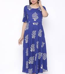 Womens Rayon Floral Print Flared Long Gown (Blue)