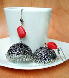 Red agate jhumkas