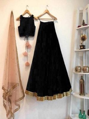 Black plain art silk semi stitched lehenga