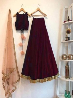 Maroon plain art silk semi stitched lehenga