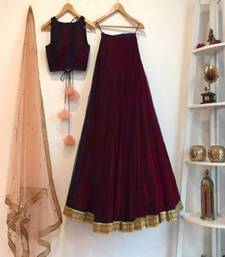 Maroon plain art silk semi stitched lehenga