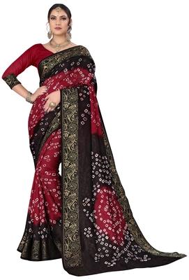 Black printed cotton silk Bandhani saree