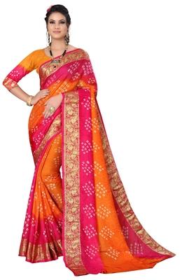Rani pink hand woven art silk Bandhani saree
