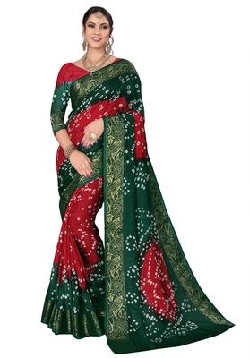 Green printed cotton silk Bandhani saree