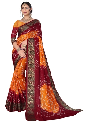 Rust printed cotton silk Bandhani saree