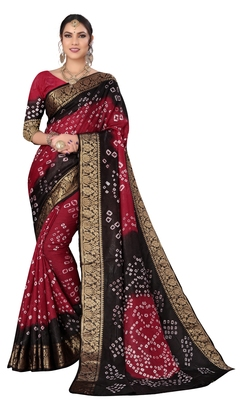 Maroon hand woven art silk Bandhani saree