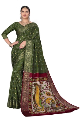 Mehendi hand woven art silk Bandhani saree