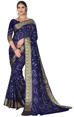 Blue hand woven art silk Bandhani saree