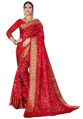 Red hand woven art silk Bandhani saree