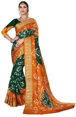 Rust hand woven art silk Bandhani saree