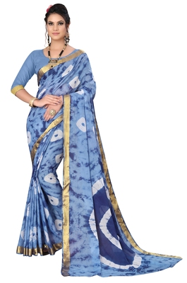 Light blue Shibori printed Red cotton Bandhani saree