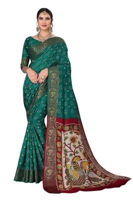 Green hand woven art silk Bandhani saree