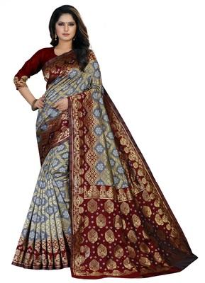 Grey printed art silk Bandhani saree