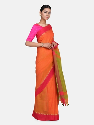Rust Plain Work Khadi Cotton Handloom Saree With Blouse