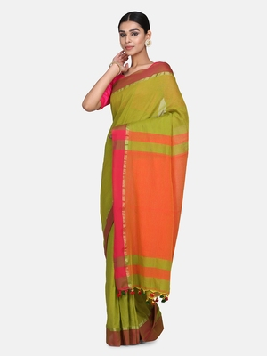 Pesta Plain Work Khadi Cotton Handloom Saree With Blouse