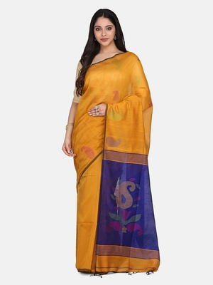 Mustard Jamdani Work Cotton Silk Handloom Saree With Blouse