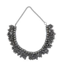 German Oxidised Silver Jewellery Banjara Afghani Stylish Antique Black Ghungroo Choker Necklace for Women