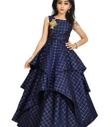 Kids Blue Cotton Silk Gown For Girls