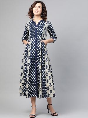 Navy-blue printed cotton long-dresses