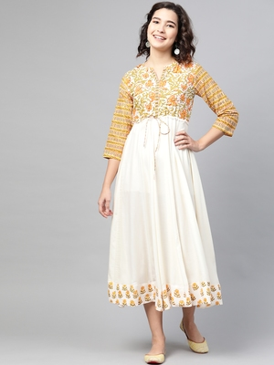 Off-white printed cotton long-dresses