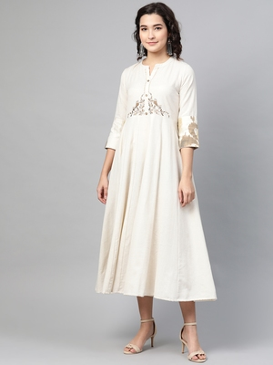 Off-white embroidered cotton long-dresses