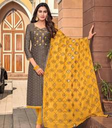 grey embroidery modal butti unstitch straight fit churidar salwar suits
