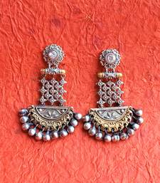 Indian Tradional Hand crafted silver look alike Brass Earrings for Women & Girls