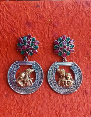 Indian Tradional Hand crafted Silver look alike Dual tone Brass Earrings for Women & Girls
