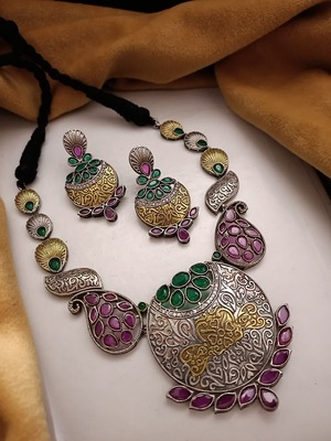 Indian Tradional Hand crafted Oxidized Brass Dual tone Necklace set with Earrings for Women & Girls