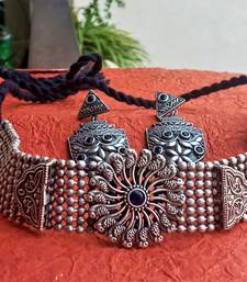 Indian Tradional Hand crafted Oxidized Brass Necklace set with Earrings for Women & Girls