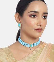 18K Gold Plated Traditional Handcrafted Turquoise Beaded Choker with Earrings For Women/Girls (ML237Sb)