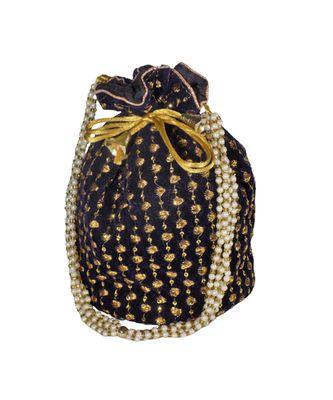 Embroidered Bridal Potli Bag Navy Blue (Single Bag)