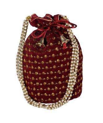 Embroidered Bridal Potli Bag Maroon (Single Bag)